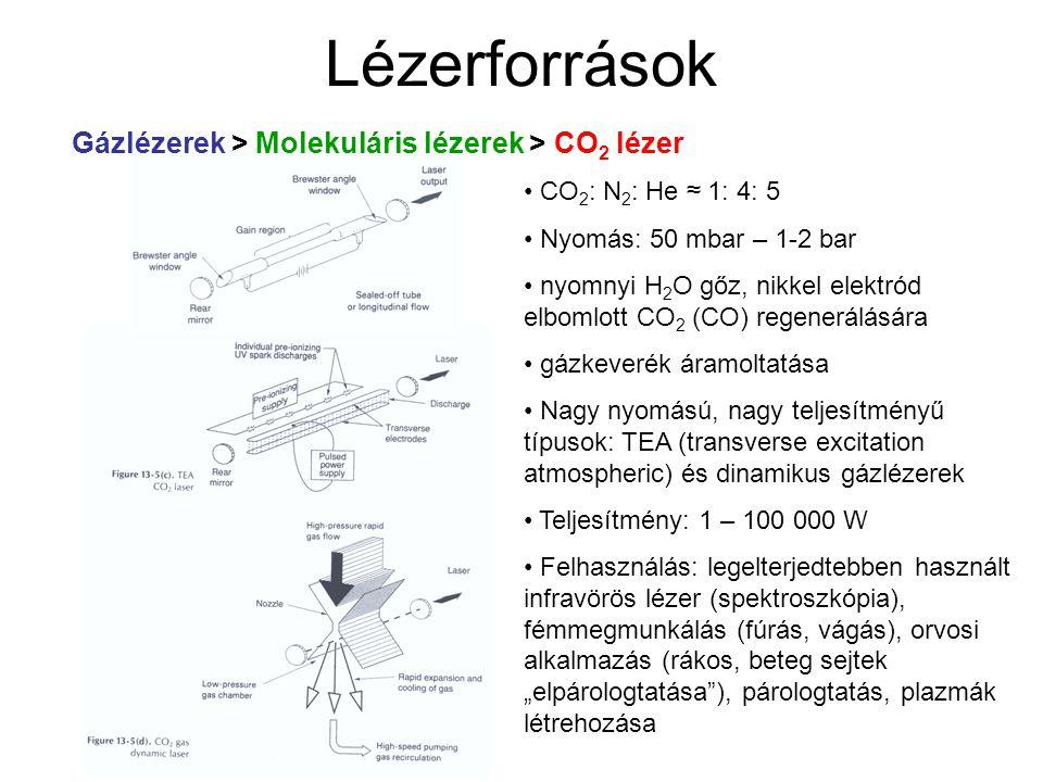 Lézerforrások CO 2 : N 2 : He ≈ 1: 4: 5 Nyomás: 50 mbar – 1-2 bar nyomnyi H 2 O gőz, nikkel elektród elbomlott CO 2 (CO) regenerálására gázkeverék ára
