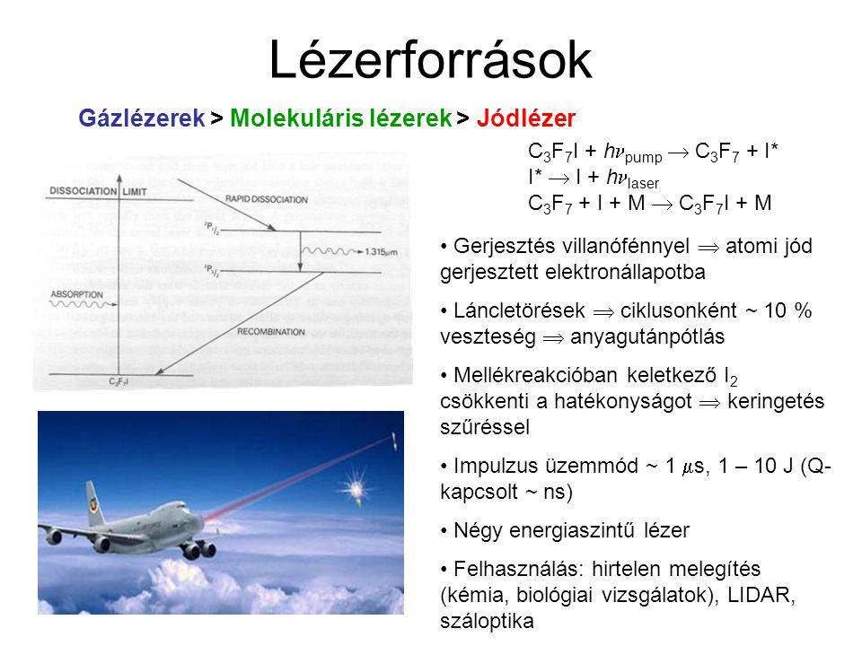 Lézerforrások Gázlézerek > Molekuláris lézerek > Jódlézer Gerjesztés villanófénnyel  atomi jód gerjesztett elektronállapotba Láncletörések  cikluson