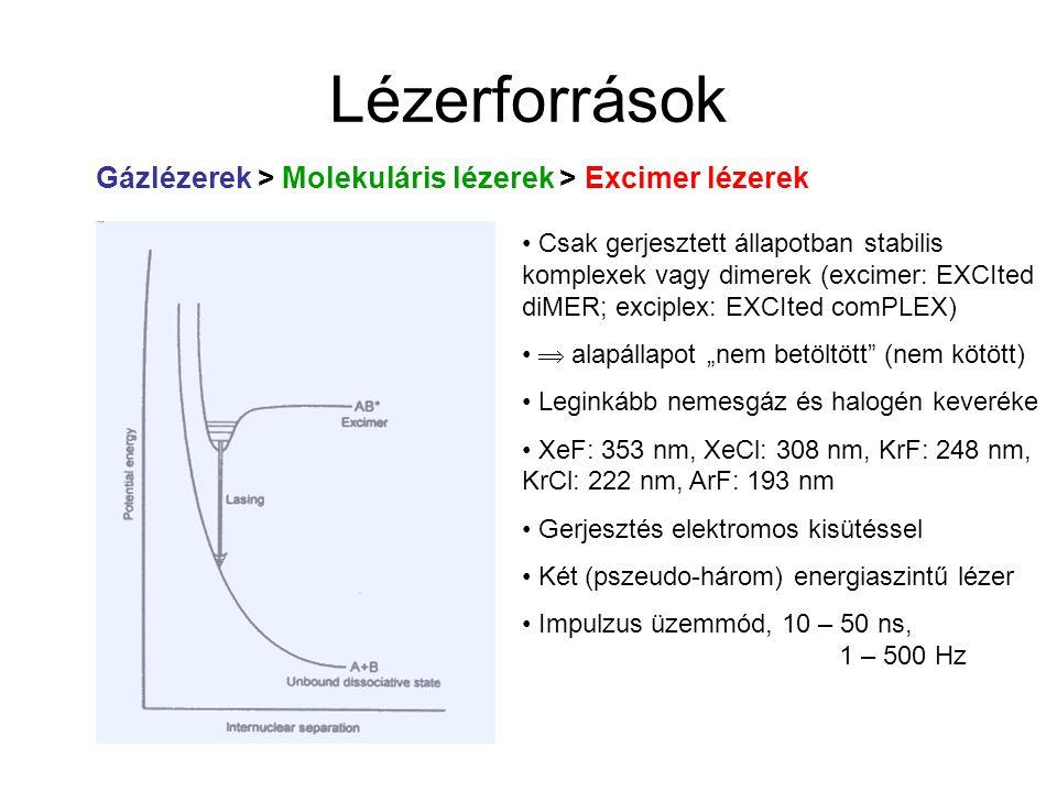 Lézerforrások Gázlézerek > Molekuláris lézerek > Excimer lézerek Csak gerjesztett állapotban stabilis komplexek vagy dimerek (excimer: EXCIted diMER;