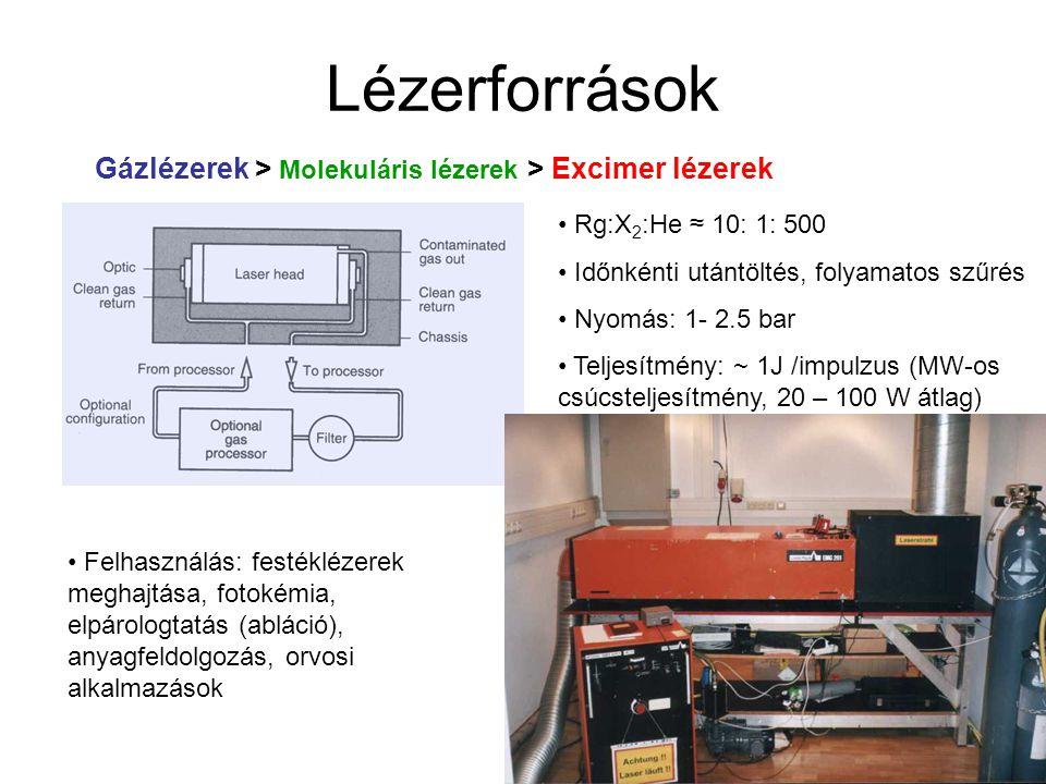 Lézerforrások Gázlézerek > Molekuláris lézerek > Excimer lézerek Rg:X 2 :He ≈ 10: 1: 500 Időnkénti utántöltés, folyamatos szűrés Nyomás: 1- 2.5 bar Te