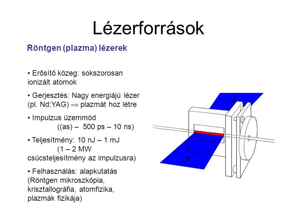 Lézerforrások Röntgen (plazma) lézerek Erősítő közeg: sokszorosan ionizált atomok Gerjesztés: Nagy energiájú lézer (pl. Nd:YAG)  plazmát hoz létre Im