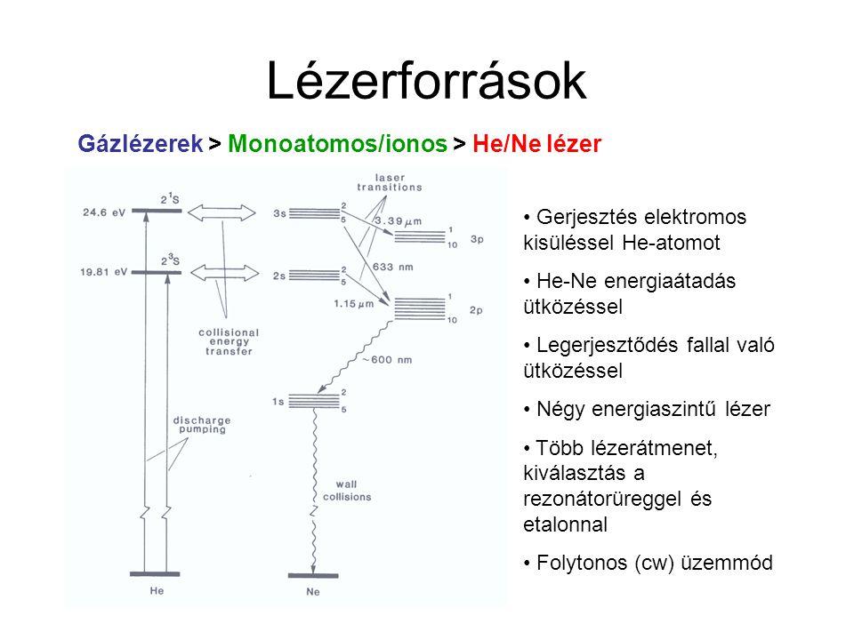 Lézerforrások Gázlézerek > Monoatomos/ionos > He/Ne lézer He:Ne ≈ 5:1 Nyomás: ~ 1 mbar Sugárnyaláb átmérője: ≤ 5 mm Teljesítmény: 0-100 mW (632 nm) Koherenciahossz: 20-30 cm Vonalszélesség: ~ 0.001 cm -1 Viszonylag olcsó (legolcsóbb zöld lézerfény 543 nm) Hosszú élettartam Felhasználás: optikai beállítások, távolságmérés (pl.