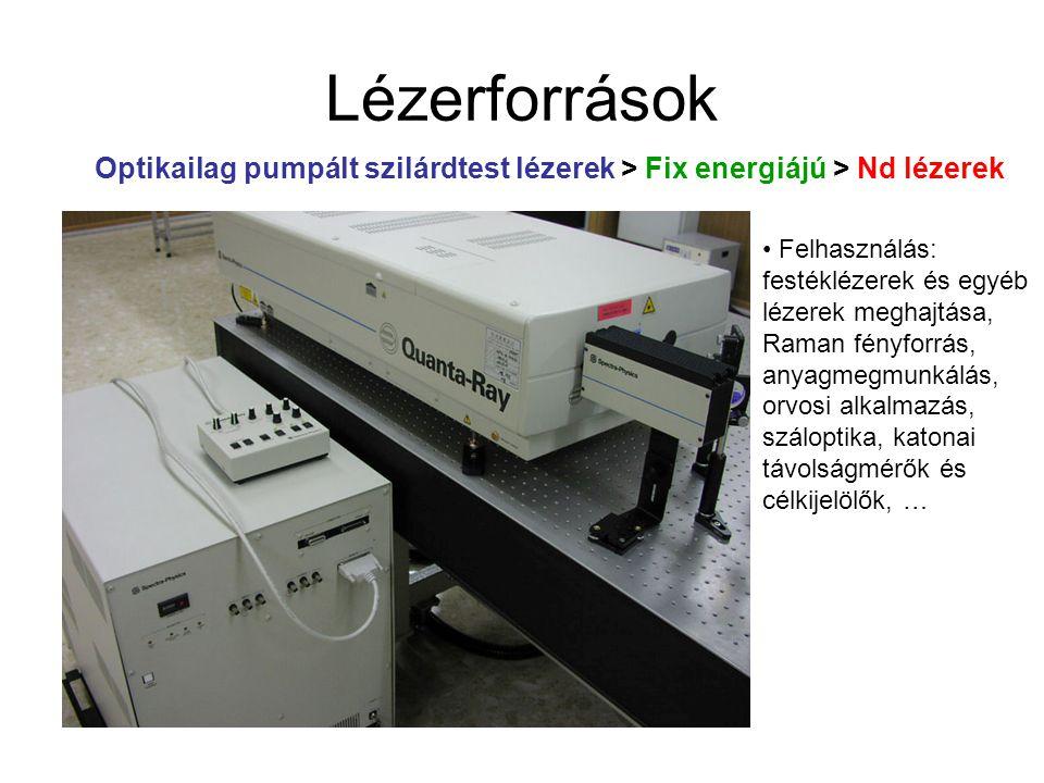 Lézerforrások Optikailag pumpált szilárdtest lézerek > Fix energiájú > Nd lézerek Felhasználás: festéklézerek és egyéb lézerek meghajtása, Raman fényf