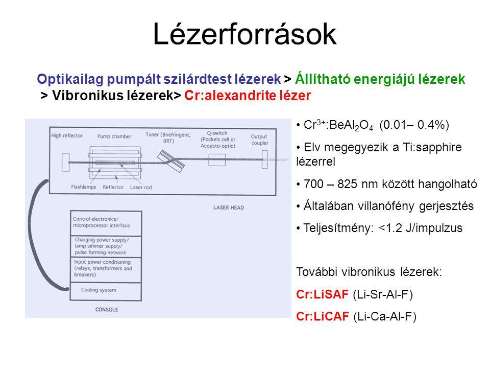 Lézerforrások Optikailag pumpált szilárdtest lézerek > Állítható energiájú lézerek > Vibronikus lézerek> Cr:alexandrite lézer Cr 3+ :BeAl 2 O 4 (0.01–