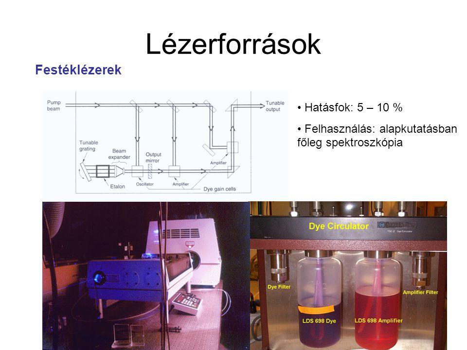 Lézerforrások Festéklézerek Hatásfok: 5 – 10 % Felhasználás: alapkutatásban főleg spektroszkópia