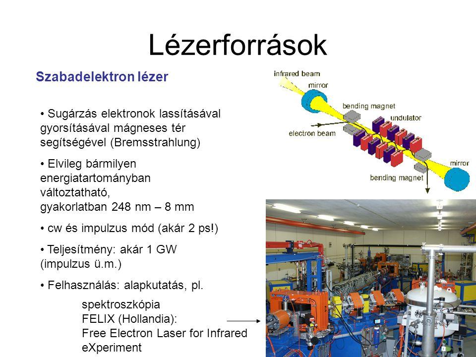 Lézerforrások Szabadelektron lézer Sugárzás elektronok lassításával gyorsításával mágneses tér segítségével (Bremsstrahlung) Elvileg bármilyen energia