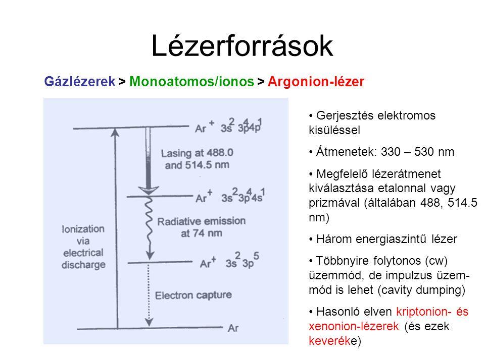 Lézerforrások Gázlézerek > Monoatomos/ionos > Argonion-lézer Adszorpció csökkentése: fal kvarcból vagy BeO, grafit; Ar + -ok mágneses térrel gáztérben tarthatók Nyomás: ~0.05 mbar Kis hatásfok  extenzív víz- vagy léghűtés Teljesítmény: > 100 mW – 50 W Vonalszélesség: ~0.0001 cm-1
