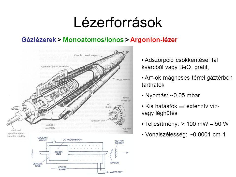 """Lézerforrások Gázlézerek > Molekuláris lézerek > Excimer lézerek Csak gerjesztett állapotban stabilis komplexek vagy dimerek (excimer: EXCIted diMER; exciplex: EXCIted comPLEX)  alapállapot """"nem betöltött (nem kötött) Leginkább nemesgáz és halogén keveréke XeF: 353 nm, XeCl: 308 nm, KrF: 248 nm, KrCl: 222 nm, ArF: 193 nm Gerjesztés elektromos kisütéssel Két (pszeudo-három) energiaszintű lézer Impulzus üzemmód, 10 – 50 ns, 1 – 500 Hz"""