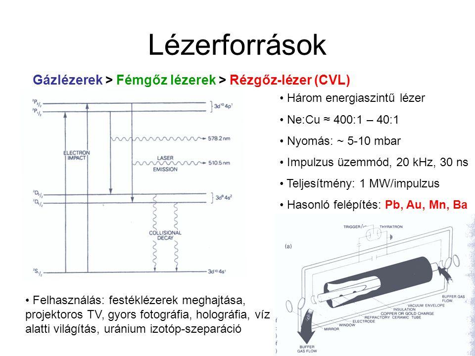 """Lézerforrások Gázlézerek > Molekuláris lézerek > Nitrogénlézer Elektrongerjesztés N 2 -ben elektromos kisüléssel Felső energiaszint rövid élettartamú  populáció inverzió folyamatosan nem tartható fenn   kizárólag impulzus üzemmód, 1 – 200 Hz, 1 – 10 ns  effektív spontán emisszió (""""szupersugárzó )  nincs szükség rezonátorüregre Vonalszélesség: ~ 0.1 nm Teljesítmény: 0.25 – 10 mJ / impulzus ( 0.25 – 1 MW) Felhasználás: festéklézerek meghajtása (kiszorulóban)"""