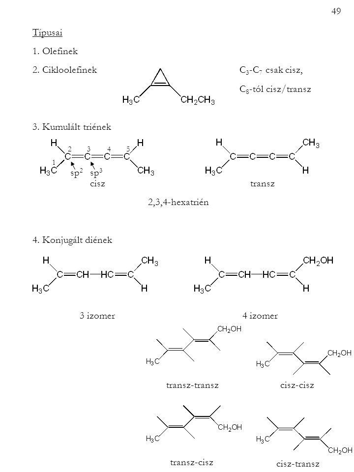 Típusai 1. Olefinek 2. Cikloolefinek C 3 -C 7 csak cisz, C 8 -tól cisz/transz 3. Kumulált triének cisz transz 2,3,4-hexatrién 4. Konjugált diének 3 iz