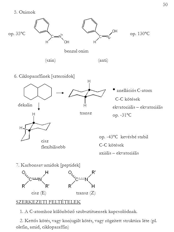 5. Oximok op. 35ºCop. 130ºC benzal oxim (szin) (anti) 6. Cikloparaffinek [szteroidok] transz cisz flexibilisebb anellációs C-atom C-C kötések ekvatori