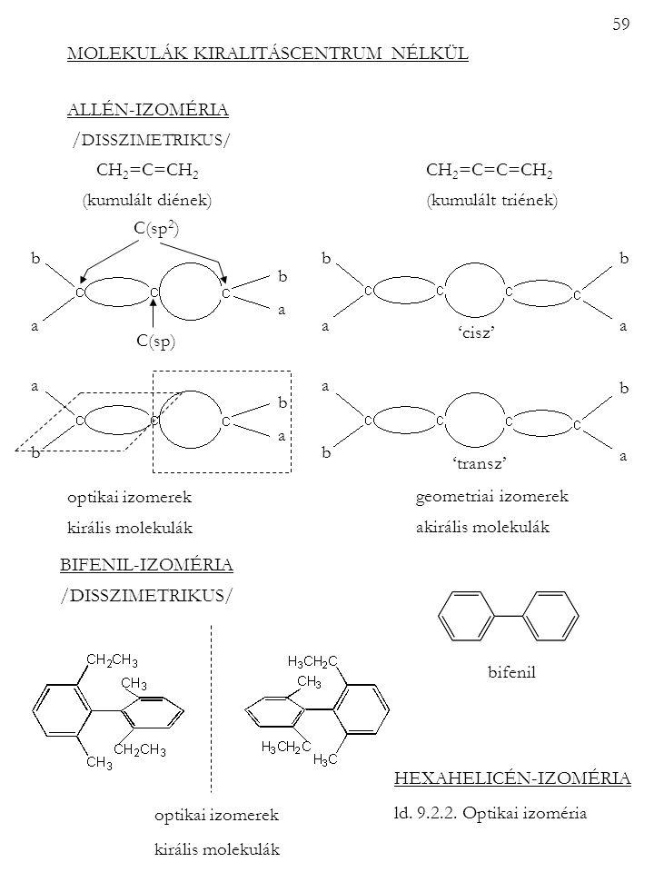 MOLEKULÁK KIRALITÁSCENTRUM NÉLKÜL ALLÉN-IZOMÉRIA / DISSZIMETRIKUS/ CH 2 =C=CH 2 CH 2 =C=C=CH 2 (kumulált diének) (kumulált triének) optikai izomerek k
