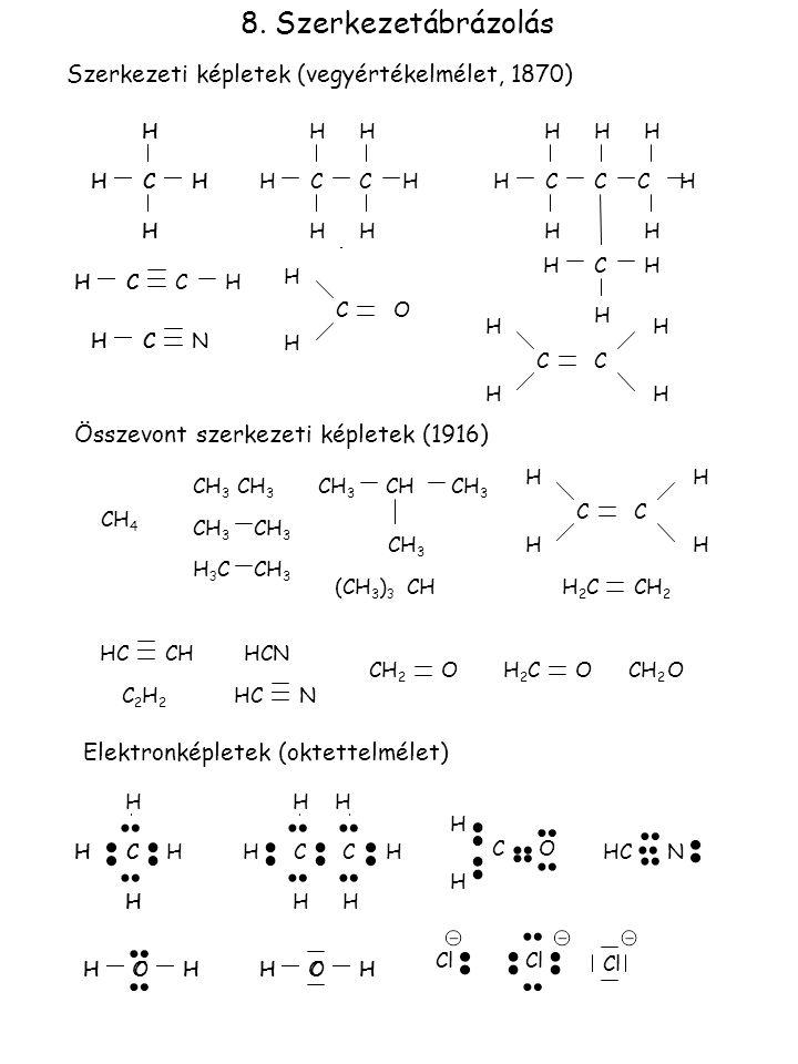8. Szerkezetábrázolás Szerkezeti képletek (vegyértékelmélet, 1870) CC C H H H H H C H H H HH CC H H H H H H H H H H CHHCHH CNHCH C H H OC H H C H H CC