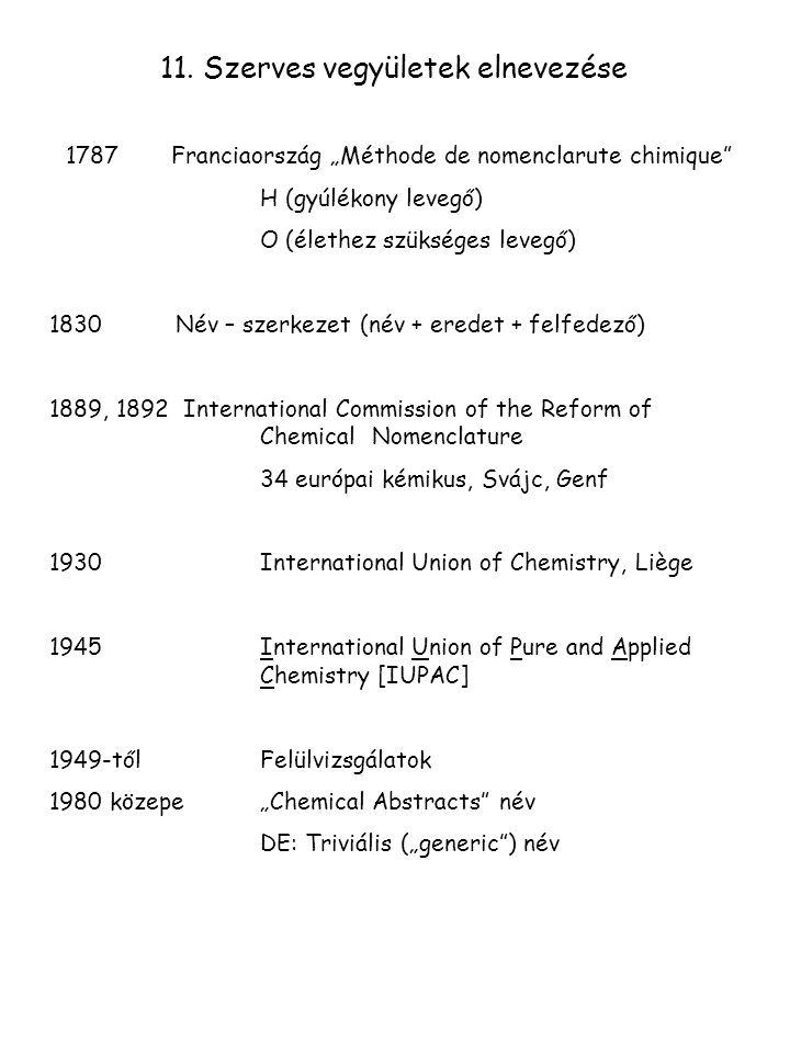 """1787 Franciaország """"Méthode de nomenclarute chimique"""" H (gyúlékony levegő) O (élethez szükséges levegő) 1830 Név – szerkezet (név + eredet + felfedező"""