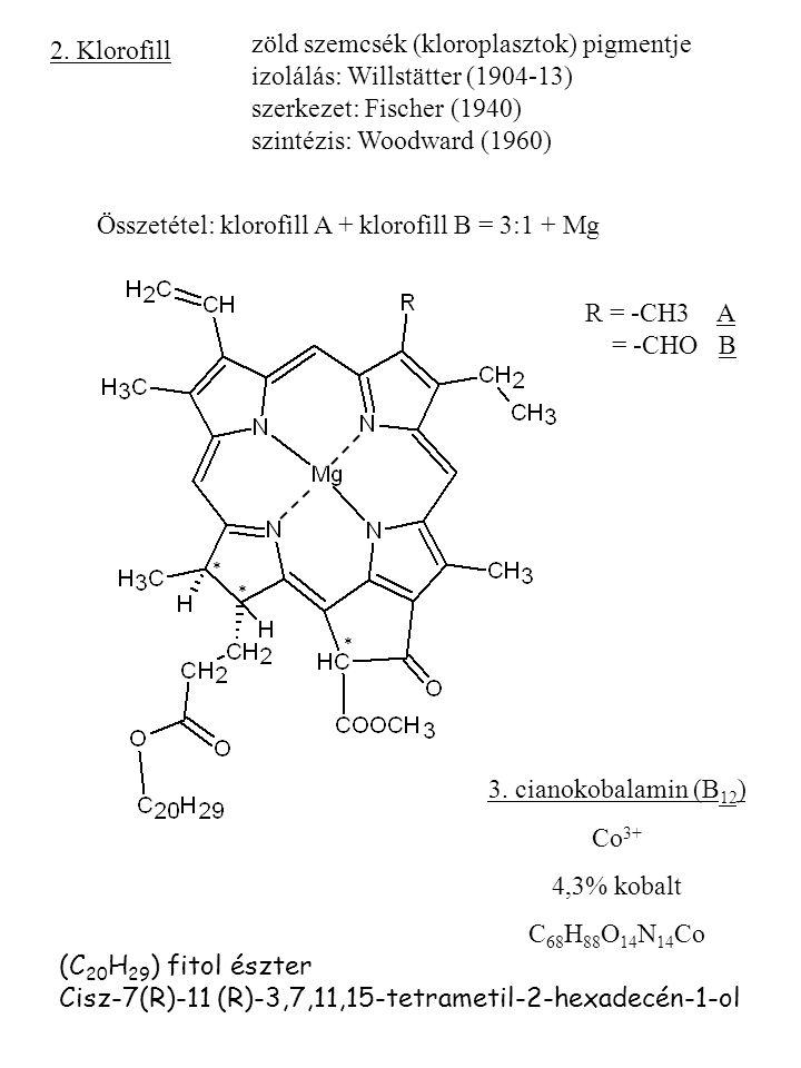 2. Klorofill zöld szemcsék (kloroplasztok) pigmentje izolálás: Willstätter (1904-13) szerkezet: Fischer (1940) szintézis: Woodward (1960) Összetétel: