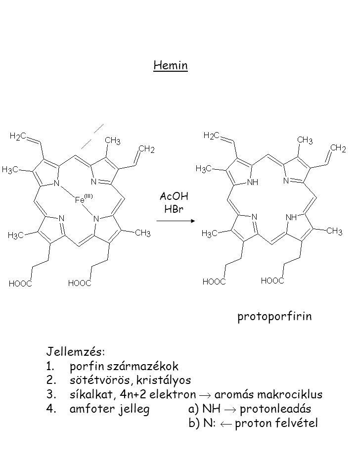 Hemin Jellemzés: 1.porfin származékok 2.sötétvörös, kristályos 3.síkalkat, 4n+2 elektron  aromás makrociklus 4.amfoter jellega) NH  protonleadás b)