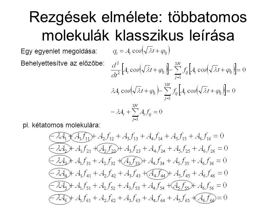 Rezgések elmélete: többatomos molekulák klasszikus leírása Átrendezve és általánosítva: f ij számításból, vagy kísérleti eredményekből, A i -k megoldása: Q (A i ): a normálkoordináták (normálrezgések amplitúdói) i : a normálrezgések frekvenciái (3 transzláció, 3 rotáció, 3N-6 rezgési) szekuláris egyenlet L: 3NRj3NRj 3NQi3NQi