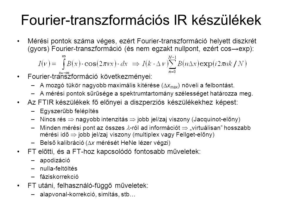 Fourier-transzformációs IR készülékek Mérési pontok száma véges, ezért Fourier-transzformáció helyett diszkrét (gyors) Fourier-transzformáció (és nem