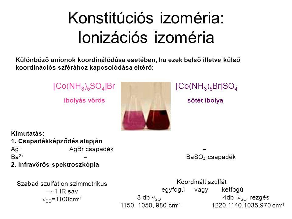 Konstitúciós izoméria: Ionizációs izoméria Különböző anionok koordinálódása esetében, ha ezek belső illetve külső koordinációs szférához kapcsolódása