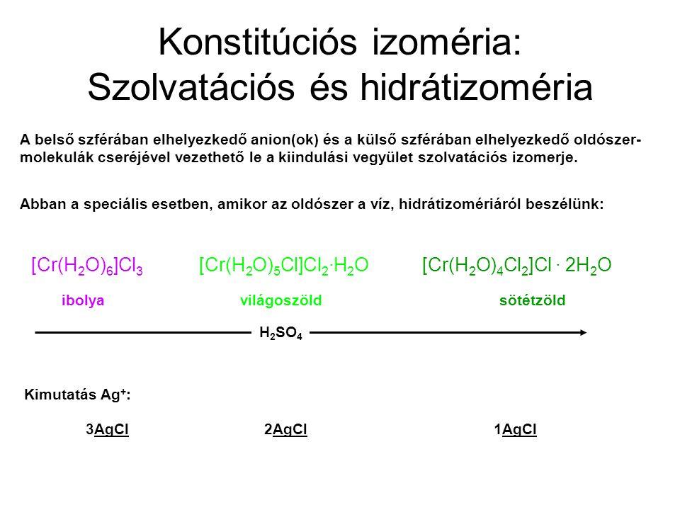 Konstitúciós izoméria: Szolvatációs és hidrátizoméria A belső szférában elhelyezkedő anion(ok) és a külső szférában elhelyezkedő oldószer- molekulák c