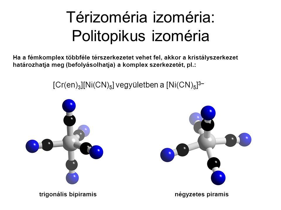 Térizoméria izoméria: Politopikus izoméria Ha a fémkomplex többféle térszerkezetet vehet fel, akkor a kristályszerkezet határozhatja meg (befolyásolha