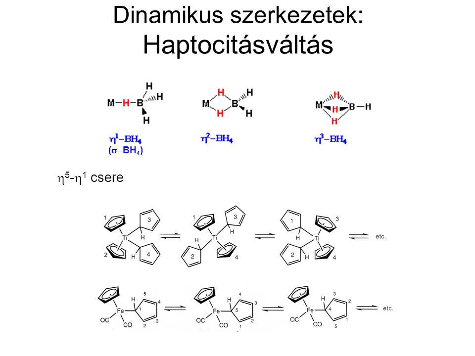 Dinamikus szerkezetek: Haptocitásváltás  5 -  1 csere (  BH 4 )