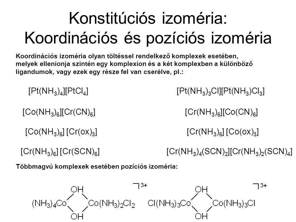 Konstitúciós izoméria: Ionizációs izoméria Különböző anionok koordinálódása esetében, ha ezek belső illetve külső koordinációs szférához kapcsolódása eltérő: [Co(NH 3 ) 5 SO 4 ]Br[Co(NH 3 ) 5 Br]SO 4 sötét ibolya Kimutatás: 1.