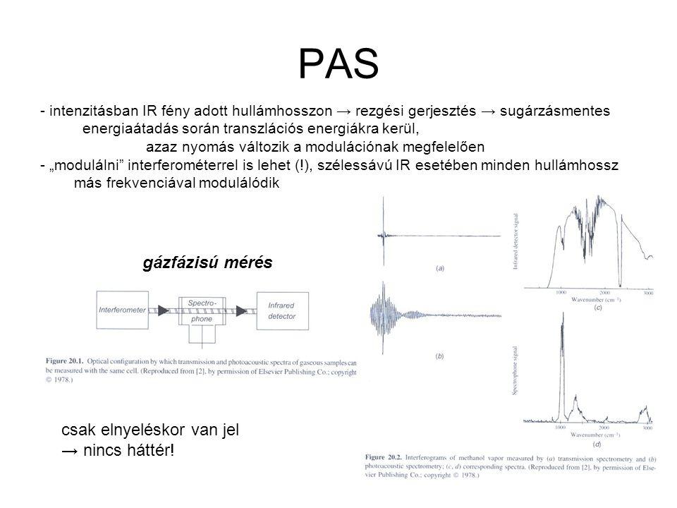 """PAS - intenzitásban IR fény adott hullámhosszon → rezgési gerjesztés → sugárzásmentes energiaátadás során transzlációs energiákra kerül, azaz nyomás változik a modulációnak megfelelően - """"modulálni interferométerrel is lehet (!), szélessávú IR esetében minden hullámhossz más frekvenciával modulálódik gázfázisú mérés csak elnyeléskor van jel → nincs háttér!"""