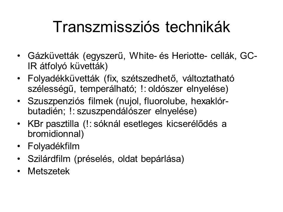 Transzmissziós technikák Gázküvetták (egyszerű, White- és Heriotte- cellák, GC- IR átfolyó küvetták) Folyadékküvetták (fix, szétszedhető, változtathat