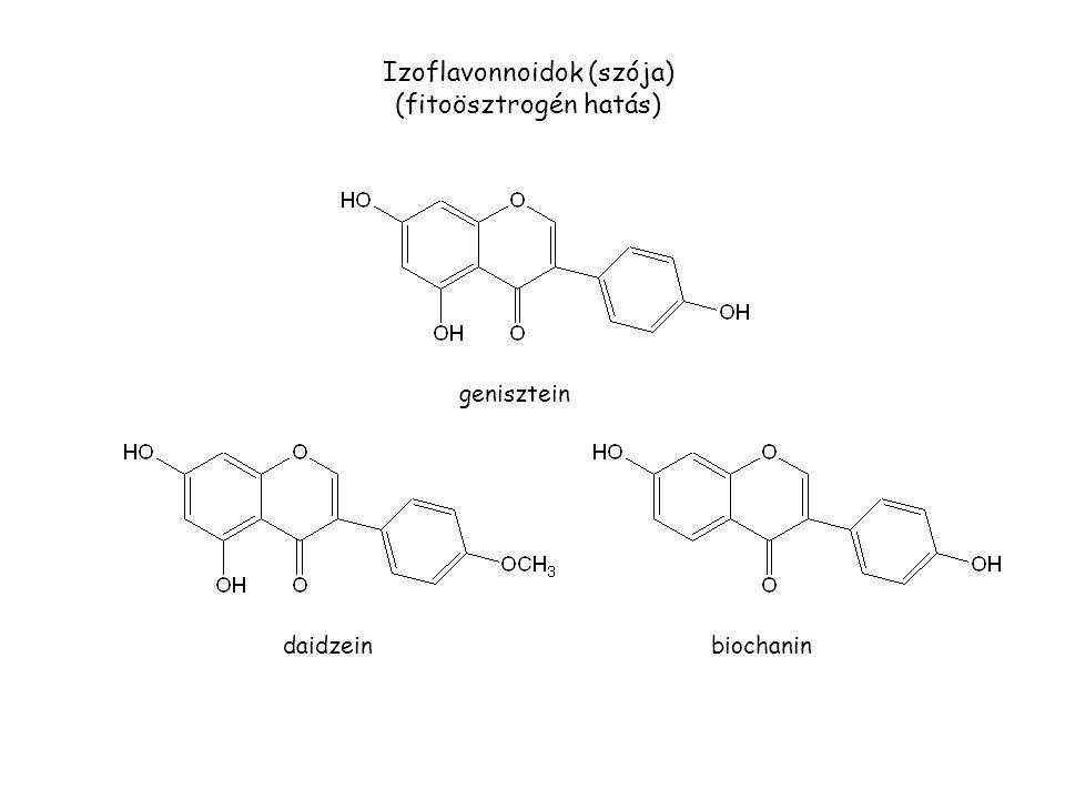 genisztein daidzeinbiochanin Izoflavonnoidok (szója) (fitoösztrogén hatás)