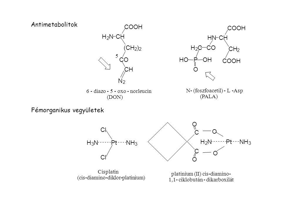 H 2 NCH COOH (CH 2 ) 2 CO CH N 2 CO HNCH COOH CH 2 COOH H 2 C PHO O OH Pt Cl NH 3 H 3 N 5 Antimetabolitok PtNH 3 H 2 N C C klórambucil 6 - diazo - 5 - oxo - norleucin (DON) O N- (foszfoacetil) - L -Asp (PALA) O O O Fémorganikus vegyületek Cisplatin (cis-diamino-diklor-platinium) platinium (II) cis-diamino- 1,1- ciklobután - dikarboxilát