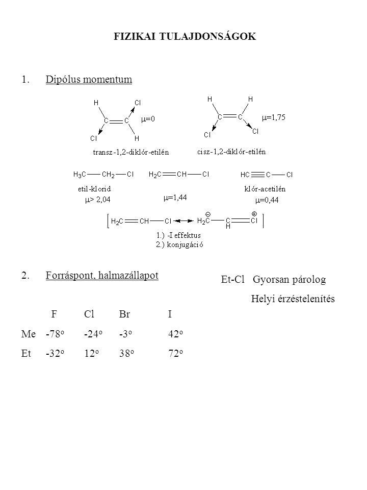 FIZIKAI TULAJDONSÁGOK 1.Dipólus momentum 2.Forráspont, halmazállapot F ClBrI Me-78 o -24 o -3 o 42 o Et-32 o 12 o 38 o 72 o Et-Cl Gyorsan párolog Hely