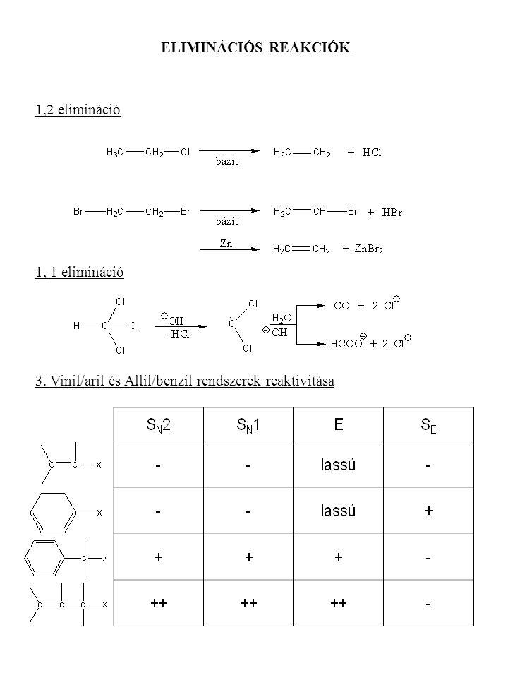 ELIMINÁCIÓS REAKCIÓK 1,2 elimináció 1, 1 elimináció 3. Vinil/aril és Allil/benzil rendszerek reaktivitása