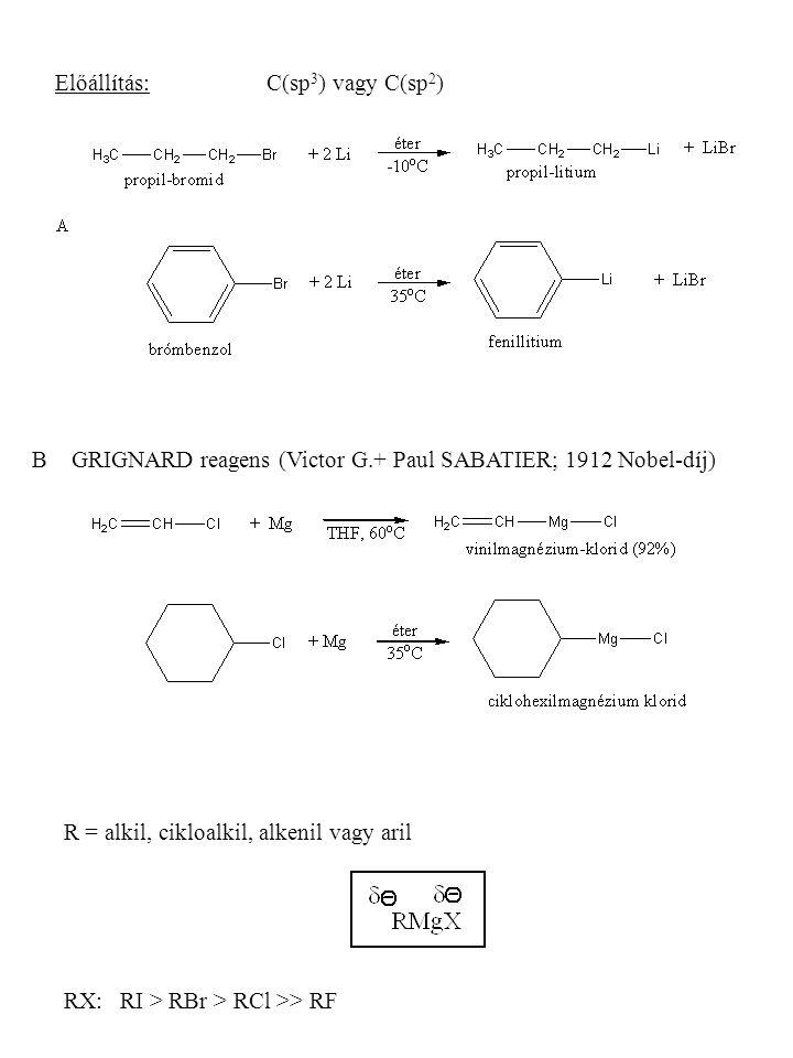 Előállítás:C(sp 3 ) vagy C(sp 2 ) B GRIGNARD reagens (Victor G.+ Paul SABATIER; 1912 Nobel-díj) R = alkil, cikloalkil, alkenil vagy aril RX: RI > RBr