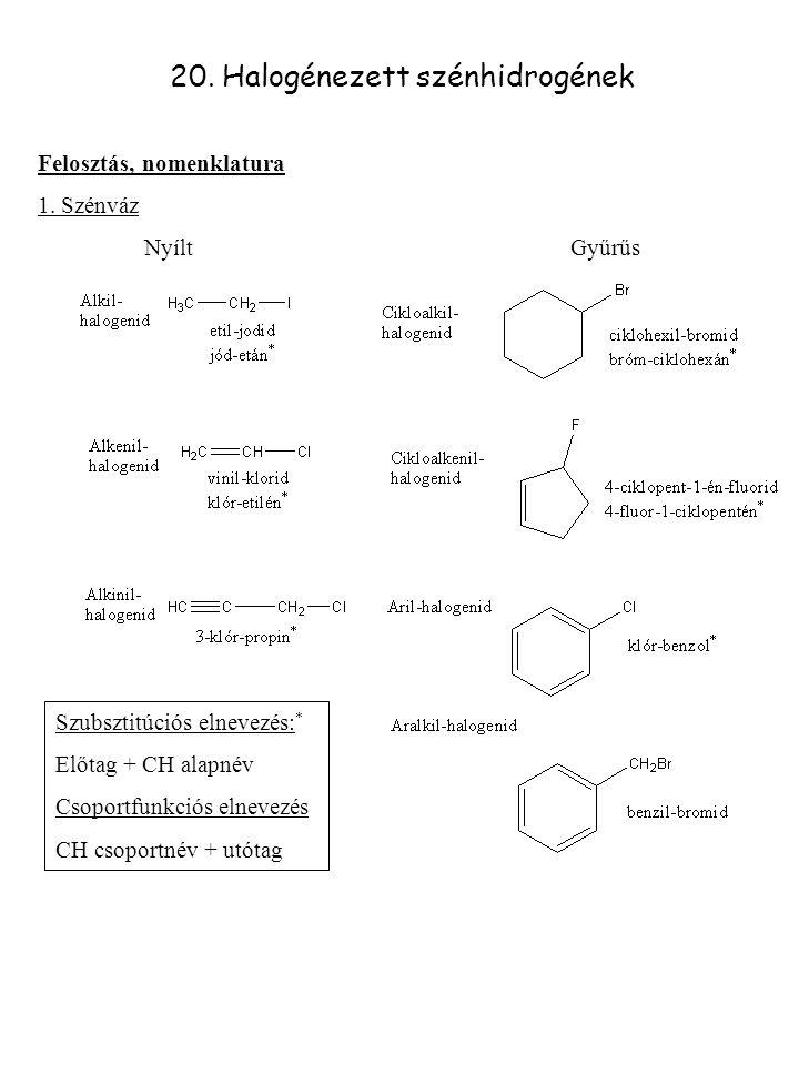 20. Halogénezett szénhidrogének Felosztás, nomenklatura 1. Szénváz NyíltGyűrűs Szubsztitúciós elnevezés: * Előtag + CH alapnév Csoportfunkciós elnevez