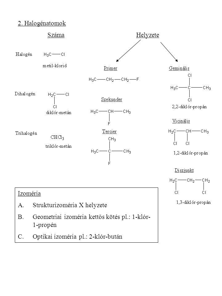 2. Halogénatomok SzámaHelyzete Izoméria A.Strukturizoméria X helyzete B.Geometriai izoméria kettős kötés pl.: 1-klór- 1-propén C.Optikai izoméria pl.:
