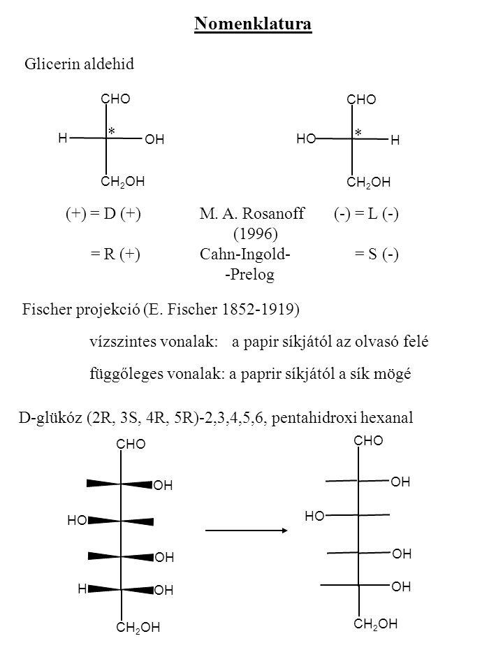 Nomenklatura Glicerin aldehid CHO H CH 2 OH HO CHO OH CH 2 OH H * * (+) = D (+)M. A. Rosanoff(-) = L (-) (1996) = R (+)Cahn-Ingold- = S (-) -Prelog Fi