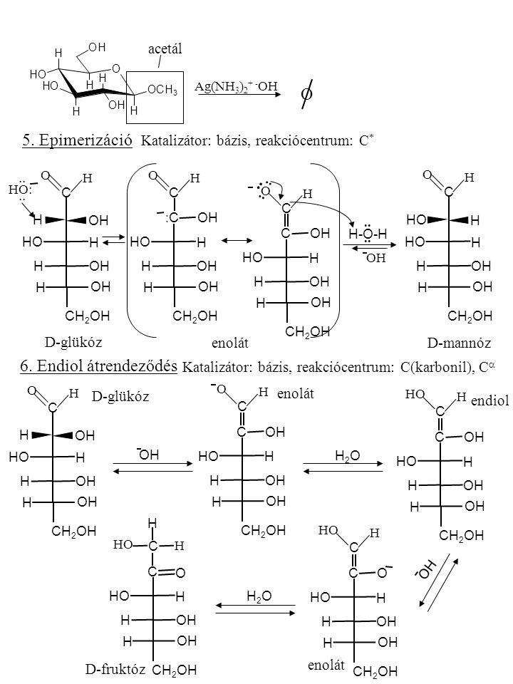 O H OH H H H H OCH 3 OH OH OH acetál Ag(NH 3 ) 2 + - OH O 5. Epimerizáció Katalizátor: bázis, reakciócentrum: C * OH C CH 2 OH HO OH H H H H H O HO:..