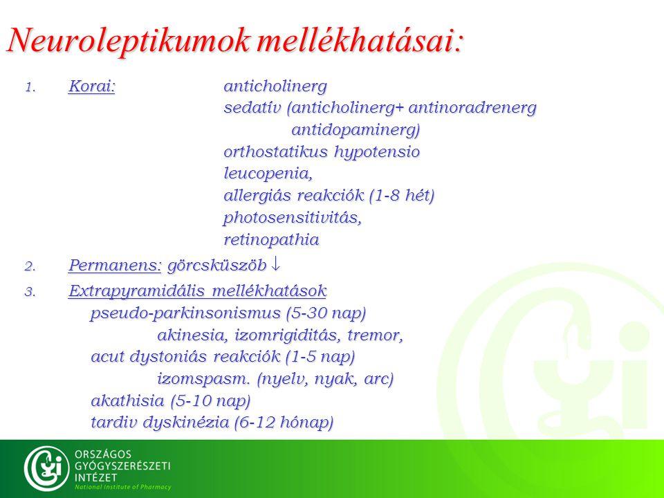 Neuroleptikumok mellékhatásai: 1. Korai:anticholinerg sedatív (anticholinerg+ antinoradrenerg antidopaminerg) orthostatikus hypotensio leucopenia, all
