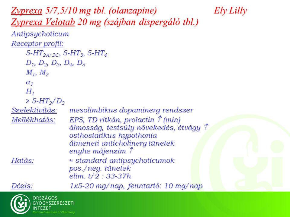 Zyprexa 5/7,5/10 mg tbl. (olanzapine) Ely Lilly Zyprexa Velotab 20 mg (szájban dispergáló tbl.) Antipsychoticum Receptor profil: 5-HT 2A/2C, 5-HT 3, 5