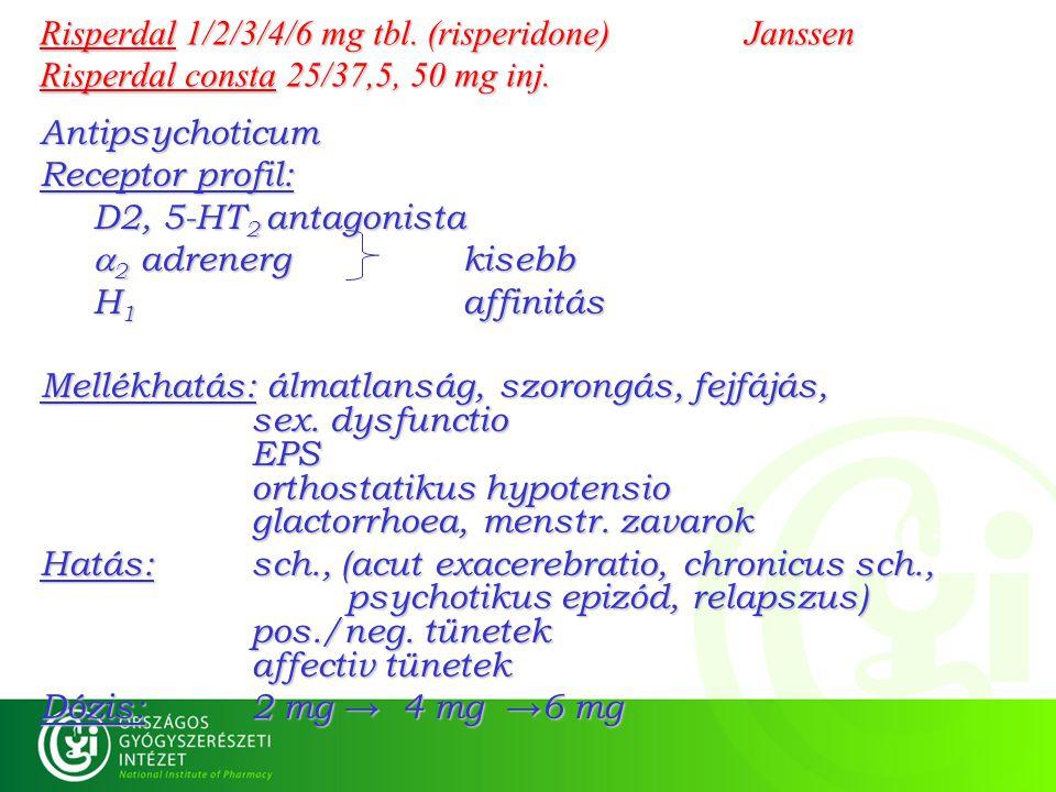Risperdal 1/2/3/4/6 mg tbl. (risperidone) Janssen Risperdal consta 25/37,5, 50 mg inj. Antipsychoticum Receptor profil: D2, 5-HT 2 antagonista  2 adr