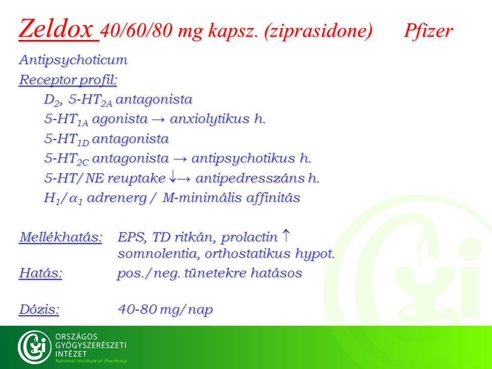 Zeldox 40/60/80 mg kapsz. (ziprasidone) Pfizer Antipsychoticum Receptor profil: D 2, 5-HT 2A antagonista 5-HT 1A agonista → anxiolytikus h. 5-HT 1D an