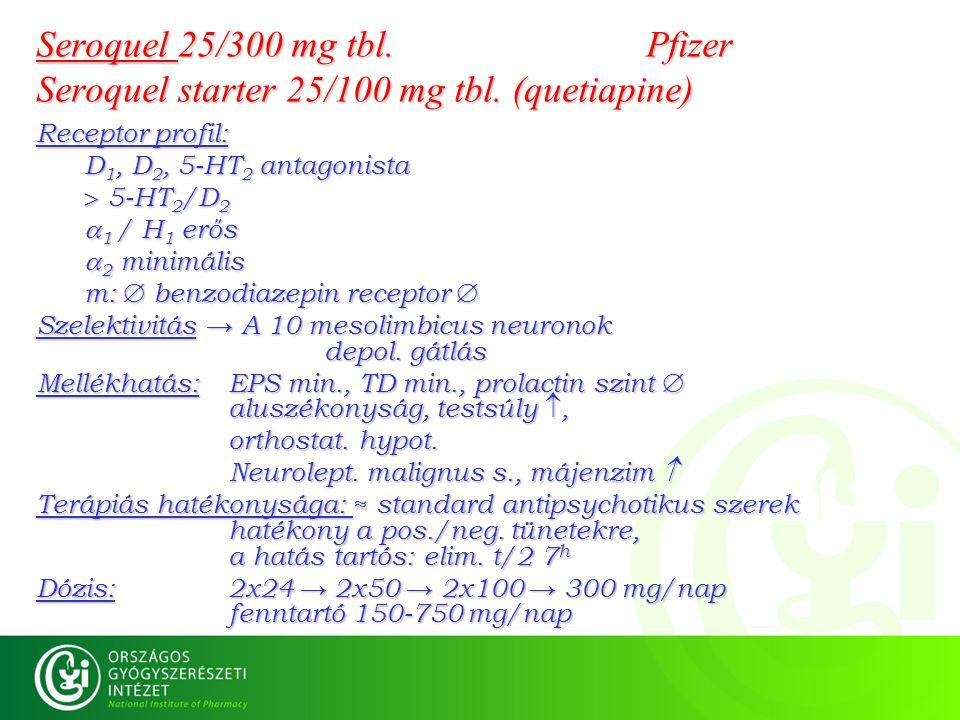 Seroquel 25/300 mg tbl. Pfizer Seroquel starter 25/100 mg tbl. (quetiapine) Receptor profil: D 1, D 2, 5-HT 2 antagonista  5-HT 2 /D 2  1 / H 1 erős