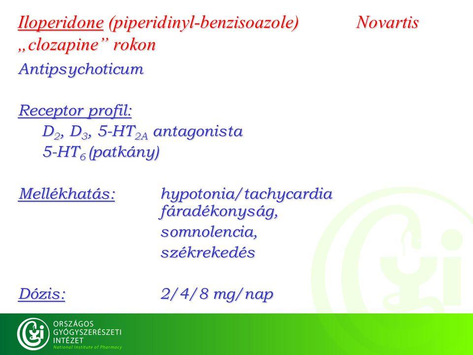 "Iloperidone (piperidinyl-benzisoazole) Novartis ""clozapine"" rokon Antipsychoticum Receptor profil: D 2, D 3, 5-HT 2A antagonista 5-HT 6 (patkány) Mell"