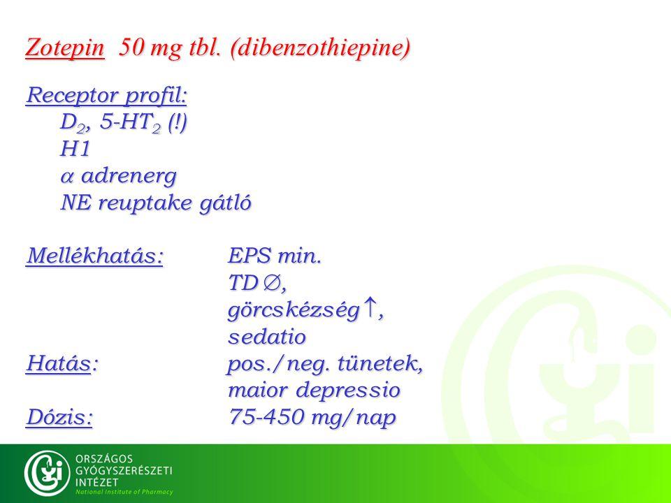 Zotepin 50 mg tbl. (dibenzothiepine) Receptor profil: D 2, 5-HT 2 (!) H1  adrenerg NE reuptake gátló Mellékhatás: EPS min. TD , görcskézség , sedat