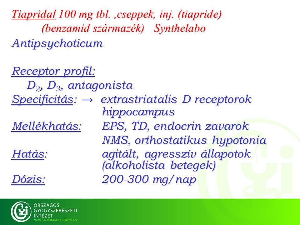 Tiapridal 100 mg tbl.,cseppek, inj. (tiapride) (benzamid származék) Synthelabo Antipsychoticum Receptor profil: D 2, D 3, antagonista Specificitás: →