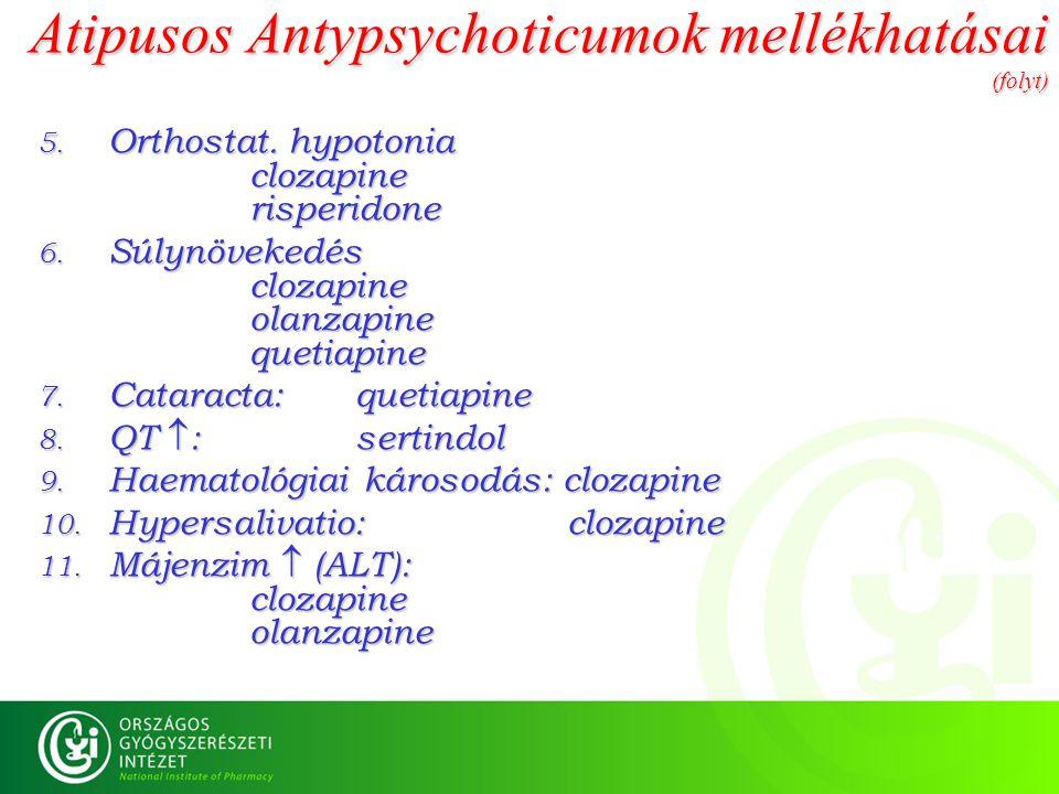 Atipusos Antypsychoticumok mellékhatásai (folyt) 5. Orthostat. hypotonia clozapine risperidone 6. Súlynövekedés clozapine olanzapine quetiapine 7. Cat