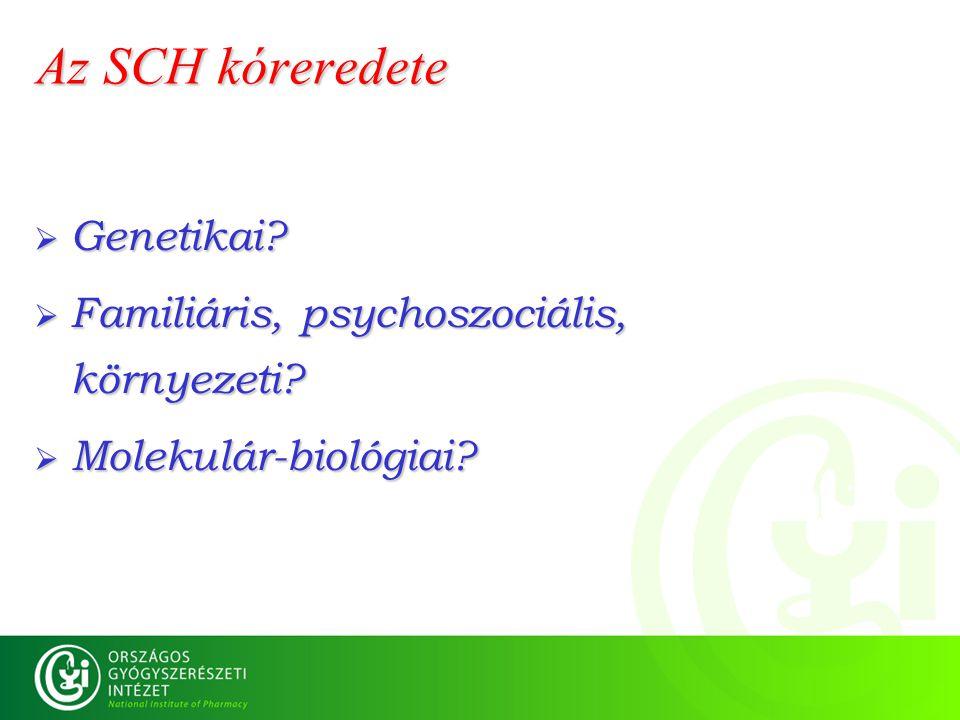 Az SCH kóreredete  Genetikai?  Familiáris, psychoszociális, környezeti?  Molekulár-biológiai?