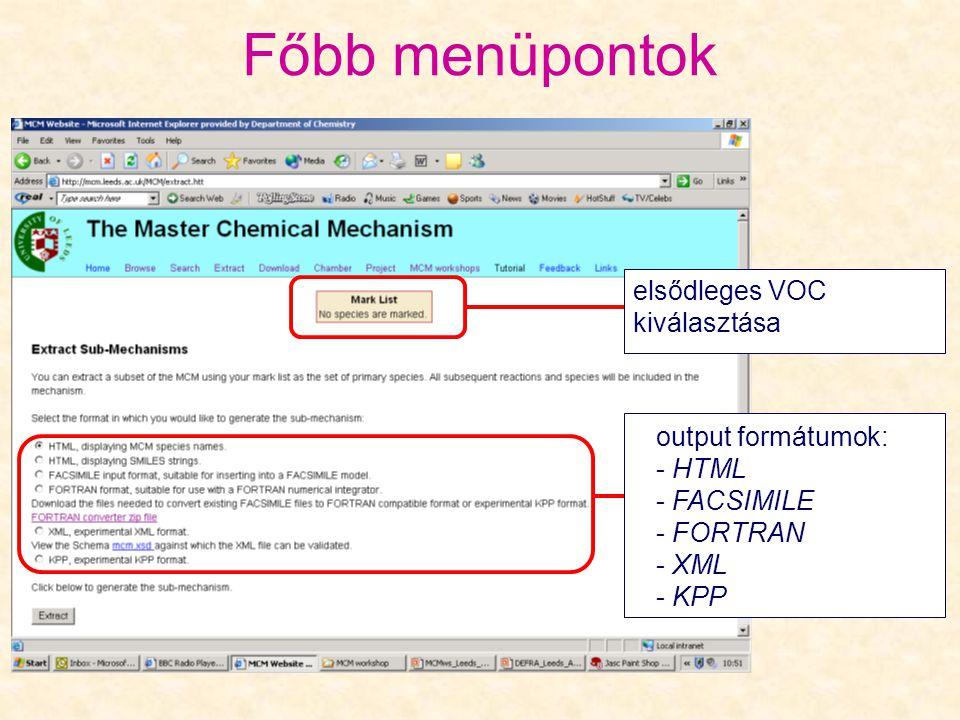 Főbb menüpontok elsődleges VOC kiválasztása output formátumok: - HTML - FACSIMILE - FORTRAN - XML - KPP