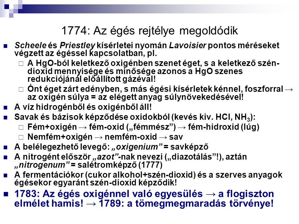 1774: Az égés rejtélye megoldódik Scheele és Priestley kísérletei nyomán Lavoisier pontos méréseket végzett az égéssel kapcsolatban, pl.  A HgO-ból k